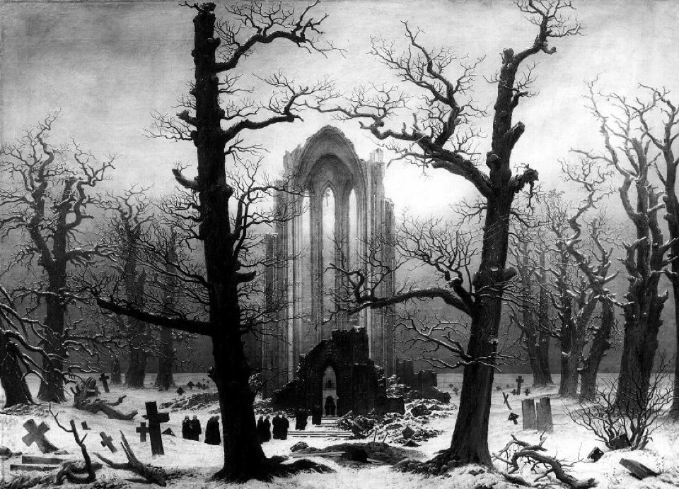 Cloister Cemetery in the Snow (1817-1819) by Caspar David Friedrich  (via friedrich2)