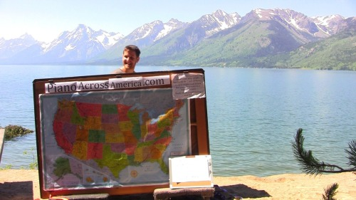 Playing on the edge of Jackson Lake in Grand Teton, Wyoming July 29