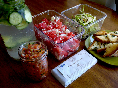 veganfeast:  Pack up your vegan feta and let's go! bruiseoftheweek:  picnic From top left clockwise: mint-cucumber vodka cocktail, watermelon feta salad, ribboned asparagus salad, gf toast with garlic, basil and olive oil, the best dark chocolate, salsa fresca.
