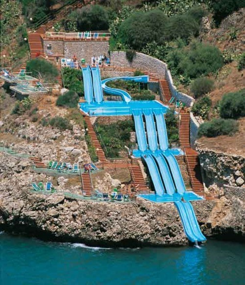 Its a water slide, that leads into the Mediterranean Sea.  I want to have a go!