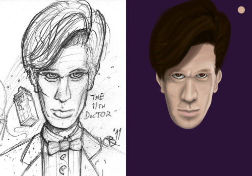 Working on turning my 11th Doctor sketch into a digital painting…