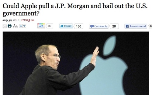 Because we keep seeing this story: No. Because if Steve Jobs gave Apple's $76 billion in cash to the U.S. government, it would just mean that the U.S. would have a few more weeks to solve their debt crisis, instead of a few days. We're essentially comparing a high point for a U.S. corporation to a low point for the federal government. The U.S. spends billions of dollars a week. Apple makes billions of dollars a quarter. It's not the same thing.