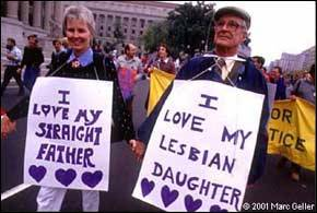 LGBTQ* Equality Marches, Pride and Rally History The Lesbian, Gay, Bisexual, and Transgender movement recognizes that our quest for social justice fundamentally links us to the struggles against racism and sexism, class bias, economic injustice, and religious intolerance. ~~Action Statement Preamble to March Platform (above picture: Father/Daughter protesters at the gay and lesbian pride protest in Washington, D.C. in 1993)