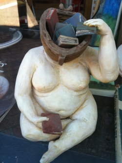 Sculpture by Malia Landis, spotted in Booklegger's shop window in Eureka, CA.