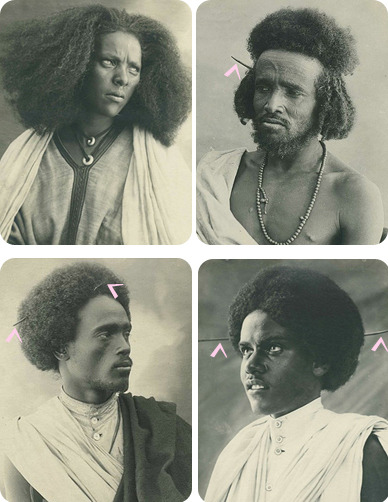 Photos in 1930's Eritrea.  The picks in their hair were use to pick out their afros.