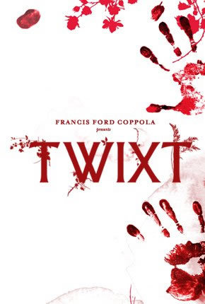 "(via TIFF 2011 First Look: Pics and Posters from Francis Ford Coppola's 'Twixt' | RopeofSilicon.com) [Image description: Movie poster, a few bits of red on a plain white background. Upper left, a smudge of blood. Across the top: a leafy motif that immediately made me wonder if they were using Designfruit brushes. Right side: a bloody handprint, then a second handprint in the lower right corner. Middle, tiny red font: ""FRANCIS FORD COPPOLA presents."" Large, plain red font, with leafy/ferny embellishments added: ""TWIXT.""] You know, Coppola's the better filmmaker and Ben Chaplin's the better-looking Poe, but I gotta give it to The Raven's poster on this one. It's interesting how the both posters have the similar ""big white background, classy gore"" motif going on, though."