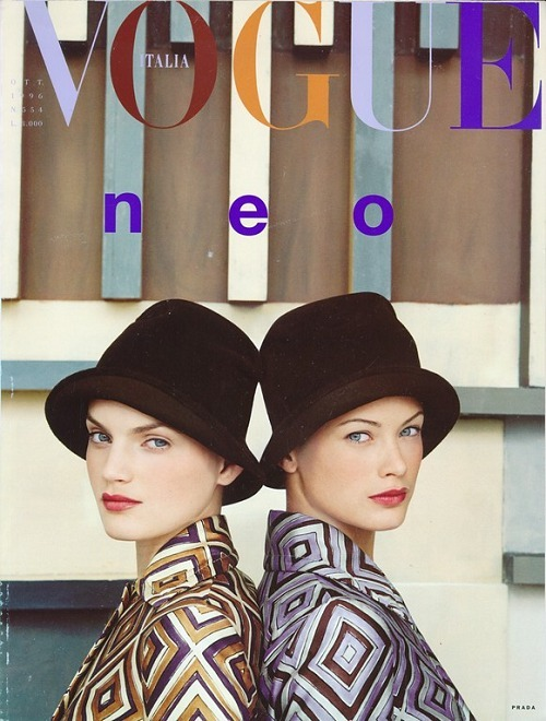 misscheriedior:  Guinevere Van Seenus and Carolyn Murphy shot by Steven Meisel for Vogue Italia