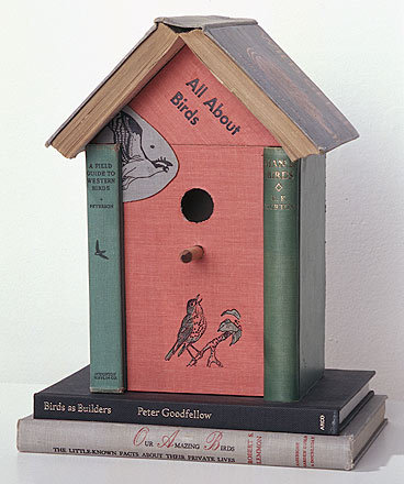 Old books = new bird house. via Curled up with a book
