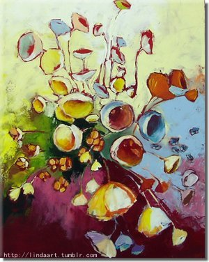 Ringbell Flower Abstract art, oil on canvas, (If you are interested in it, inquiry price at xiamen1986@gmail.com)