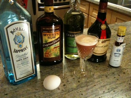 The Alamagoozlum Cocktail. Several substitutions, but it all worked out. Original recipe: http://bit.ly/nHRkTG