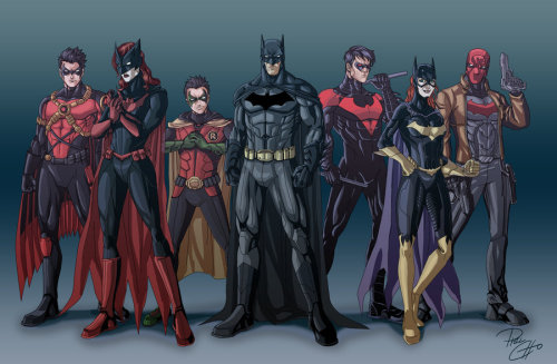 fyeahdickgrayson:  jesic:   Rebooted batfam, by qbatmanp  Could probably do with some more red.   I liked this 'before' shot so much better, DC.   hmm… I think I liked this better^ the more there are of them, the more fun it is
