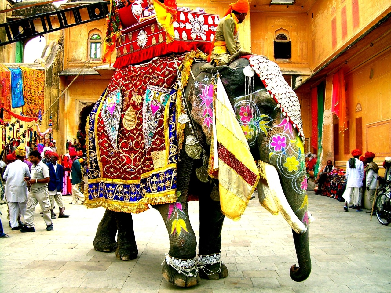 somewhereintheworldtoday:  In India even the elephants put on their best clothes Indian festivals such as Teej and Holi see the most magnificent parades of elaborately decorated elephants.