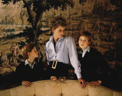 The Princess and her Princes (c.1992) by Derry Moore, 12th Earl of Drogheda One of the many images recorded in part of a series, taken at Kensington Palace, for use as a family Christmas card.