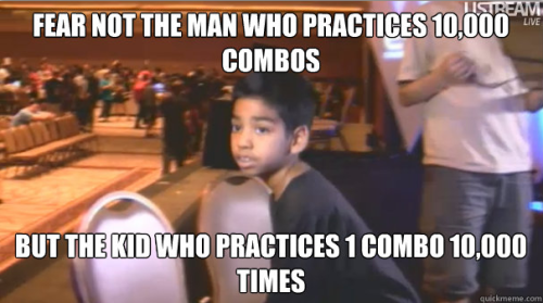Noah the Prodigy, an 8 year old boy who almost made qualified for top 8 in the MVC3 tournament at EVO 2011.