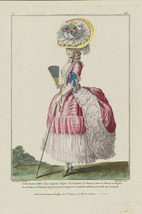 Gallerie des Modes, 1779.  I love the stripey fabric, but I especially love the super wide white trim!  It makes it such a bright, airy gown!