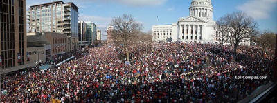 March 24, 2011 panorama of rally in Madison, Wisconsin.  Photographer: Light Reading