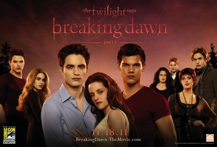 "TWILIGHT: BREAKING DAWN - PART ONE POSTER I have no idea why I'm posting this. I've never subjected myself to any of the Twilight ""saga"" and don't plan on seeing these final two instalments (unless they actually decide to keep the insane ending), but here you go. The Photoshopped-within-inches-of-its-life poster for the penultimate film in the hugely-derided series."