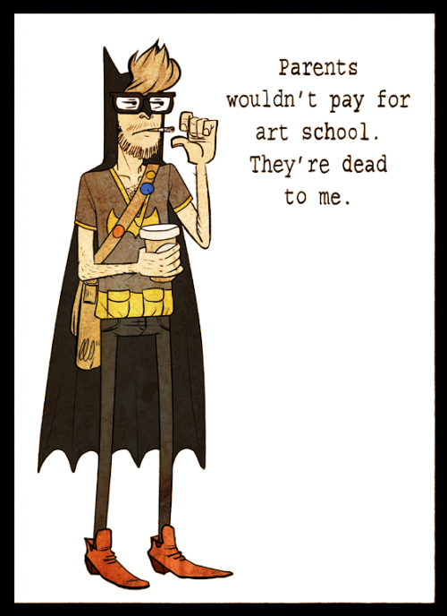 heyoscarwilde:  Hipster Batman illustration by Saljamka :: via saljamka.deviantart.com  ,