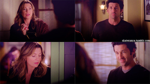 DEREK:  She's living here, too, Death?MEREDITH: Just a couple of days, till she gets her place.DEREK: No more strays.MEREDITH: No more strays.  MEREDITH: Hey. Lexie's here.DEREK: Hey. Yeah.MEREDITH: Are you making up a bed for her?DEREK: Yeah.MEREDITH: You brought home a stray.DEREK: Yeah.  5x09 In the Midnight Hour