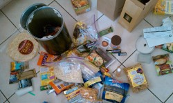 Packing the bear canister full of food for just one leg of the hiking trip. It was a huge effort, and we're only halfway done. (The picture only shows a couple days' worth.) Fortunately I spent so much time on my part that I get a pass packing for this part.  The John Muir Trail has plenty of black bears around it (brown bears are extinct in the Sierras). Also they are so smart they've already figured out how to foil hanging bags of food off tree branches. So bearproof canisters are required, we just have to keep them at night 400 ft or whatever away from our packs and tents. And we have to fit all our food into them.  Every three days for the first 9 days (or a little more, since we're out of shape) the three of us pick up a new reserve of food that we mail ahead to the only places along the trail that resemble civilization: a post office in Tuolumne Meadows at the end of Yosemite, a lodge at Devil's Postpile National Monument, a resort off the trail at Edison Lake. Then when D and T exit, I get one more food drop at Muir Trail Ranch and continue on about 11 days till I finish my journey to the top of Mt. Whitney. Hopefully it will be less than that as I get stronger since I can't really cram so much food in the bucket!!