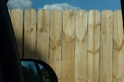 I see an owl in the piece of the fence that the rearview mirror ends.Does anybody else see it?