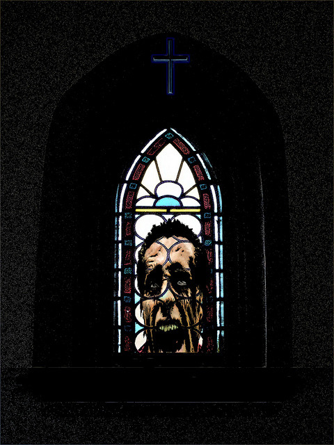 Father McKinzie - Stain Glass Zombie on Flickr.A new zombie piece inspired by a zombie parody I did.