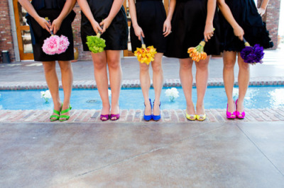 Possible theme for the friends. Black outfits with bright colored accessories.