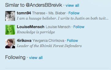 Whhaa?  I went to Anders Breivik's Twitter account after reading it got hacked. All tweets were deleted. But apparently Bieber fans are similar to him…among others.