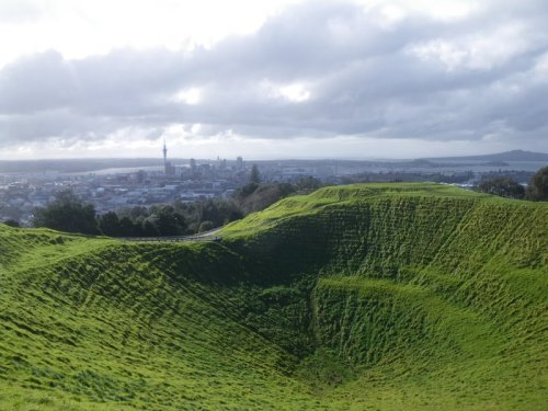 View from the top of Mt. Eden, Auckland, NZ. It's a dormant volcano!