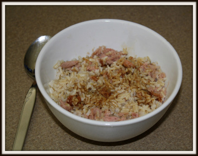 FISH & RICE FOR LUNCH Chunk Light Tuna - 100 Brown Rice (1 cup) - 150 Soy Sauce (1 Tbsp) - 10 GRAND TOTAL - 260