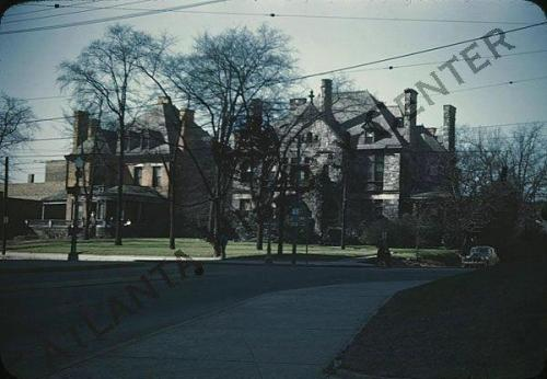 Ca. 1941 view of Victorian mansions at the southwest corner of Peachtree Street and Ponce de Leon Avenue.  Midtown Atlanta (via Atlanta History Center Album. Midtown Atlanta)