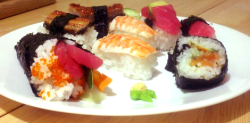 My friend and I made some sushi from scratch. It was time consuming, but SOOOO good! c: Pardon the picture quality, it was night, and the only camera available was that of a cellphone. :/