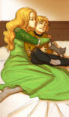 thephantomcolumn:  Cersei and Tommen (With Ser Pounce) spending the day together playing.  How did this half assed doodle of mine even end up on tumblr oh well