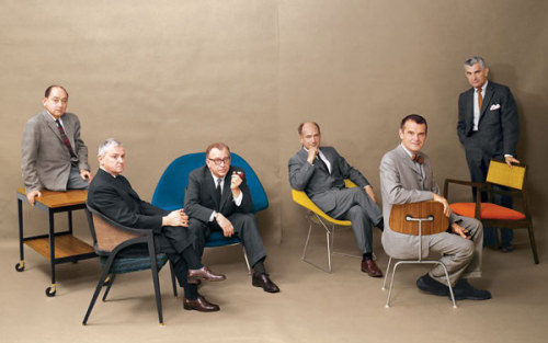 enochliew:  Designers and their chairs: (from left) George Nelson, Edward Wormley, Eero Saarinen, Harry Bertoia, Charles Eames and Jens Risom
