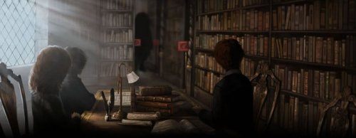 Pottermore screen cap - Harry, Ron, and Hermione at the library