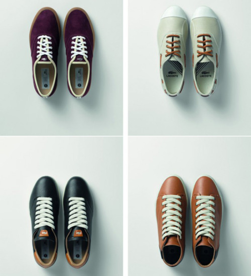 "Lacoste 2012 Spring Footwear Collection ""For Spring 2012 Lacoste will be introducing a new line to its footwear program, dubbed LED (Lacoste Essential Design). Working with simpler silhouettes and an emphasis on material quality and construction, the collection adds more of a high end look to the traditional Lacoste sneaker roster. Inspired by classic sports such as tennis, golf and sailing – sprinkled with the French tradition Lacoste has become recognized for – LED should make for a good compliment to the brand's pricier prep attire."""