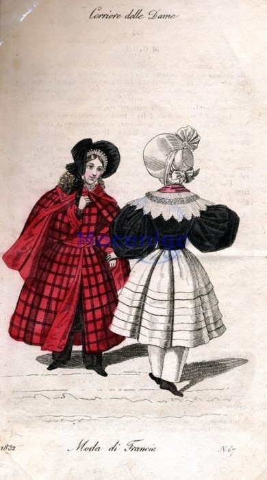 Outdoor dress for girls, 1832 Italy, Corriere delle Dame