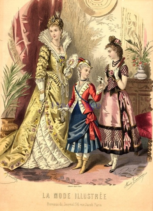 Fancy dress, 1877 France, La Mode Illustree The woman's costume is supposed to be Elizabethan, but I'm not entirely sure what the kids are supposed to be.