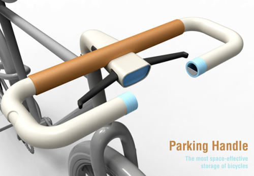 Ingenious! sentiostudio:  The Ultimate Bike Handle  Okay first of all, WOW. The simply named Bike Lock probably took some  real ingenuity to create and I would LOVE to see a prototype. The  handle itself can be detached from the main frame and used as modified  bike lock but wait, there's more. It can also function as a bike stand  when you park it indoors. CLEVER!  Designer: Sang Min Yu