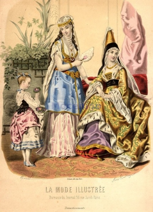 Fancy dress, 1872 France, La Mode Illustree The 15th century costume is actually pretty accurate.  Shocking.