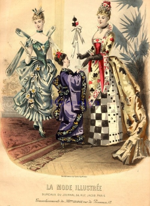 Fancy dress, 1887 France, La Mode Illustree Looks like a dragonfly, a Japanese girl and every game ever.
