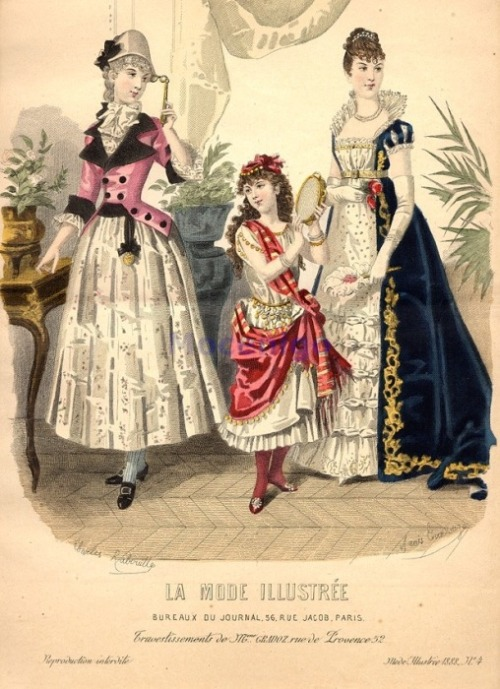 Fancy dress, 1888 France, La Mode Illustree 1780's-90's, gypsy girl, Empress Josephine