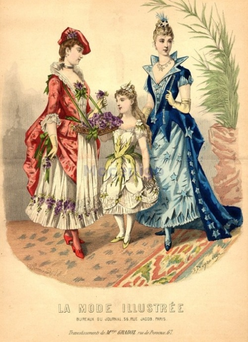 Fancy dress, 1889 France, La Mode Illustree Flower girl, flower, star