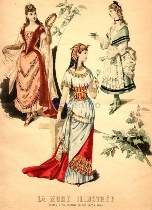 Fancy dress, 1890 France, La Mode Illustree Music, Egyptian queen, 18th century maid (?)