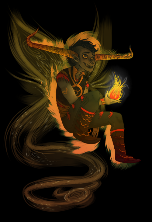 "kaleidotrip:  blue-coffee-steam:  It's Tavros just in"""" Flarp Summoner get-up that Kanaya made? Yeah I just wanted precious babby in bad-ass gear. Tholluxth is next  Geeeeh ♥"