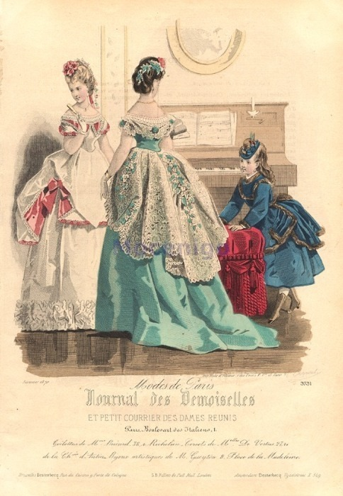 Ballgowns for women and walking dress for girls, 1870 France, La Mode Illustree