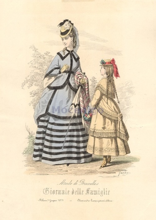 Walking or promenade dress, 1871 Italy, Corriere delle Dame
