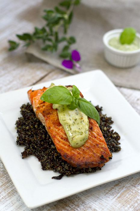 Wild Salmon with Basil Aioli and Quinoa