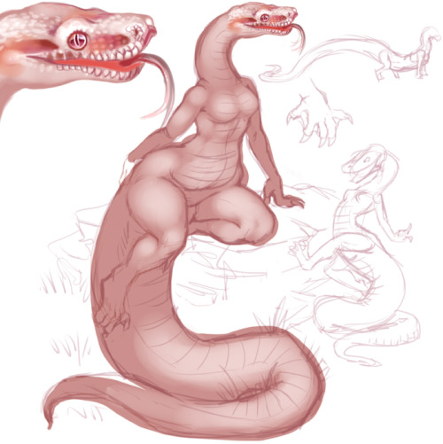 "Just a little personal art WIP of a sunglow boa character I'm thinking of being yet another representation of myself/outlet for my desire to be a beautiful scaly slithery creature ;u; Thinking of naming her Effigia, as I was planning on making some of her features (mainly limbs, torso and position while walking) similar to the long and slender archosaur. It's especially fitting as both my real boas are named Ghost and Eidolon :P I'm trying to resist giving her a fancy collar and third eye, but that seems to be a running ""theme"" for any personas I make, which may be a good and bad thing. Part of me thinks ""hey this is a cool"" but the bigger part of me thinks ""man people must thank I'm LAME and uncreative for always throwing a third eye on all my more personal characters"" x.x ANYWAY. What do you guys think?"