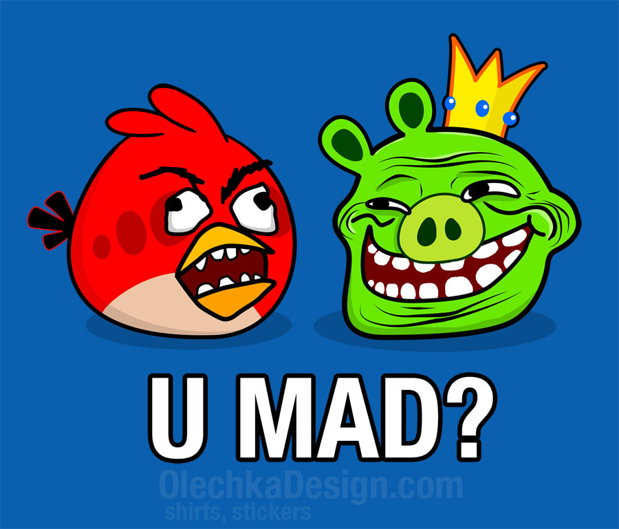 olechka:  Angry Birds Rage Guy and TrollFace by Olechka (Shirts/stickers available at RedBubble)